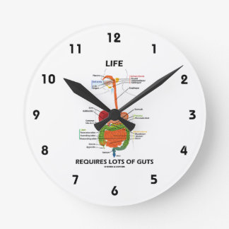 Life Requires Lots Of Guts (Digestive System) Wallclock