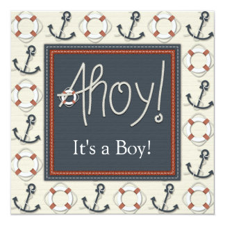 Life Ring Anchor Boys Nautical Baby Shower Card