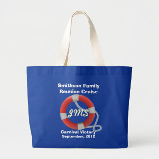 Life Ring Personalized Cruise Souvenir Large Tote Bag