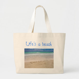 Life's a beach large tote bag