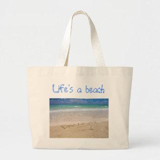 Life's a beach jumbo tote bag