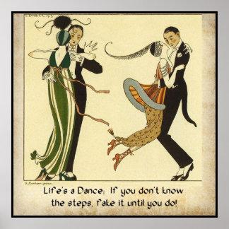 Life s a Dance Vintage Fashion Poster