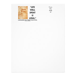 Life Well Spent Is Long Leonardo da Vinci Quote Letterhead Design