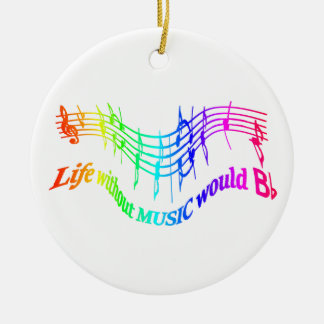 Life without Music would b flat Humor Quote Christmas Ornament