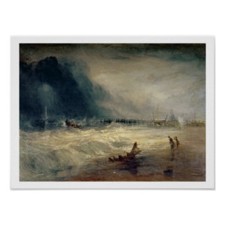 Lifeboat and Manby Apparatus going off to a strand Poster