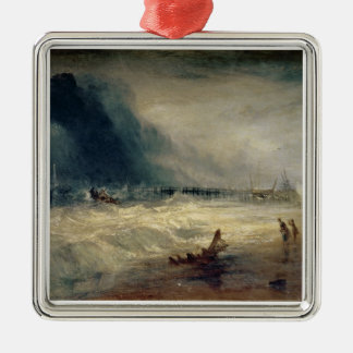 Lifeboat and Manby Apparatus going off to a strand Silver-Colored Square Decoration