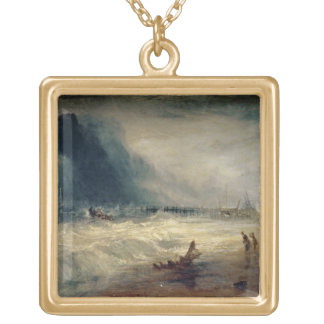 Lifeboat and Manby Apparatus going off to a strand Square Pendant Necklace