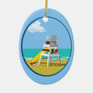 Lifeguard Chair at Christmas Ceramic Oval Decoration