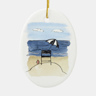 Lifeguard Chair on the Beach Ornament