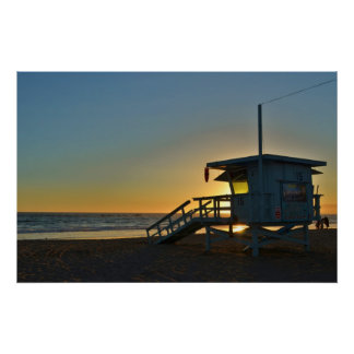Lifeguard Station at Santa Monica Beach California Poster
