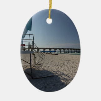 Lifeguard Tower at Panama City Beach Pier Christmas Ornament