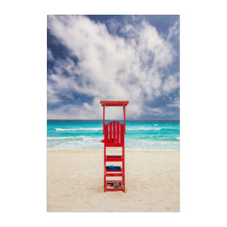 Lifeguard Tower On Beach | Cancun, Mexico Acrylic Wall Art