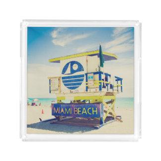 Lifeguard Tower   South Beach, Miami, Fl Acrylic Tray