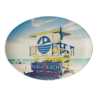 Lifeguard Tower   South Beach, Miami, Fl Porcelain Serving Platter