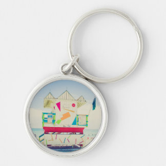 Lifeguard Tower   South Beach, Miami Silver-Colored Round Key Ring