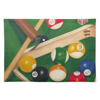 Lifelike Billiards Table with Balls and Chalk Placemat