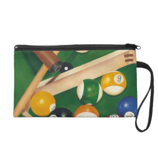 Lifelike Billiards Table with Balls and Chalk Wristlet Purses