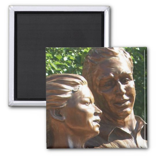 Lifelike outdoor statue of two people dancing square magnet