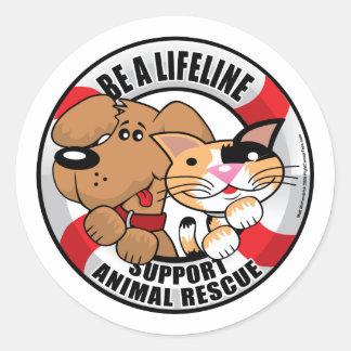 Lifeline Support Amimal Rescue Round Sticker