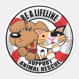Lifeline Support Amimal Rescue Round Stickers