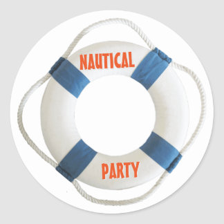 Lifering Buoy Nautical Party Classic Round Sticker