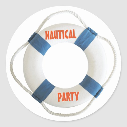 Lifering Buoy Nautical Party Round Sticker