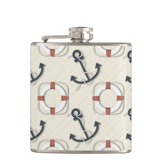 Liferings and Anchors Nautical Whiskey Flask
