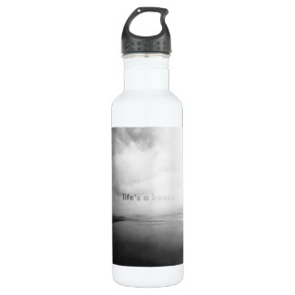 Life's a Beach - Black and White Typographic Photo 710 Ml Water Bottle
