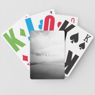 Life's a Beach - Black and White Typographic Photo Bicycle Playing Cards