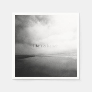 Life's a Beach - Black and White Typographic Photo Disposable Serviettes