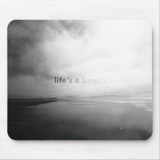 Life's a Beach - Black and White Typographic Photo Mouse Mat