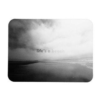 Life's a Beach - Black and White Typographic Photo Rectangular Photo Magnet