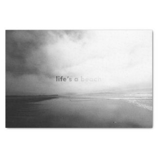 Life's a Beach - Black and White Typographic Photo Tissue Paper
