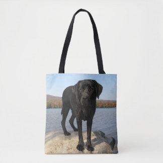 Life's a Beach - Black Labrador Tote Bag