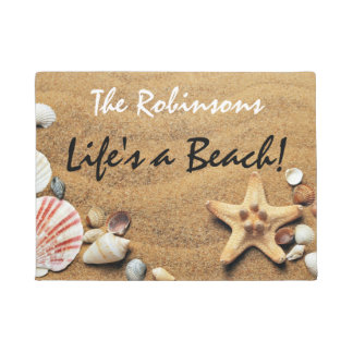 """Life's a Beach"" With Seashells and Starfish Doormat"
