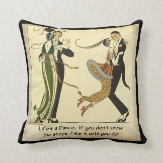 Life's a Dance:  Art Deco Illustration Throw Pillow