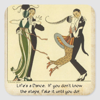 Lifes a Dance:  Art Deco Illustration Square Sticker