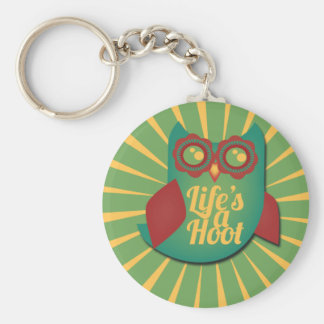 Life's a Hoot owl Cute Animal Basic Round Button Key Ring