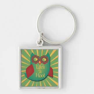 Life's a hoot Silver-Colored square key ring