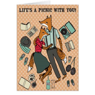 Life's a Picnic With You! - Foxes in Love Card