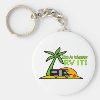 Life's An Adventure So RV It Basic Round Button Key Ring