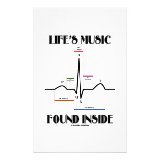 Life's Music Found Inside (ECG/EKG Heartbeat) Customised Stationery