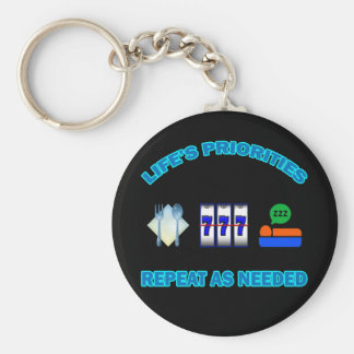 LIFE'S PRIORITIES BASIC ROUND BUTTON KEY RING