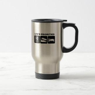 Life's priorities, boating stainless steel travel mug