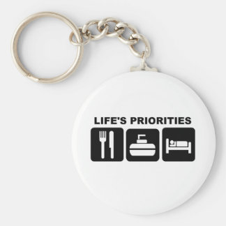 Life's priorities, CURLING Basic Round Button Key Ring