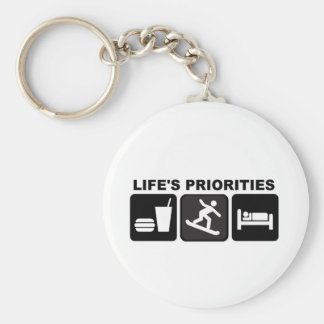 Life's priorities, Snowboarding Basic Round Button Key Ring