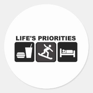 Life's priorities, Snowboarding Classic Round Sticker