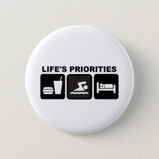 Life's Priorities, Swimming 6 Cm Round Badge