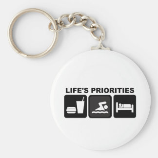 Life's Priorities, Swimming Basic Round Button Key Ring
