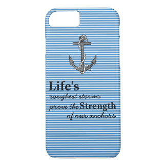Life's roughest storms Blue Anchor Blue Stripes iPhone 8/7 Case